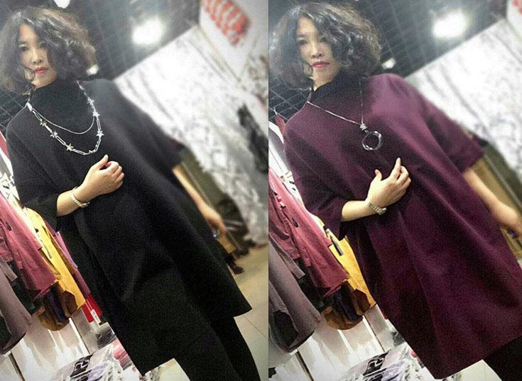 连衣裙女秋冬韩版中长款立领大码宽松胖mm百搭显瘦外穿时尚打底裙