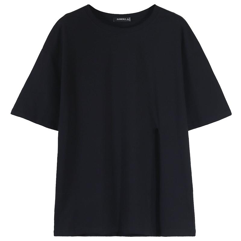 2020新款黑色T恤女宽松中长款下摆开叉御姐上衣轻熟风短袖ins潮夏【图5】