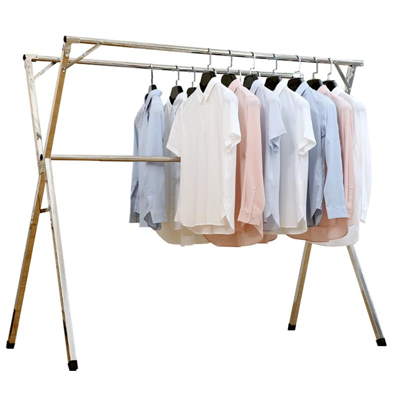 晾衣架落地折叠室内X型双杆式不锈钢晒衣架阳台晾衣杆凉衣架晒架