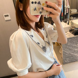 White embroidered shirt lapel 2020 new Women commuter models pointed collar V-neck embroidered shirt female Puff