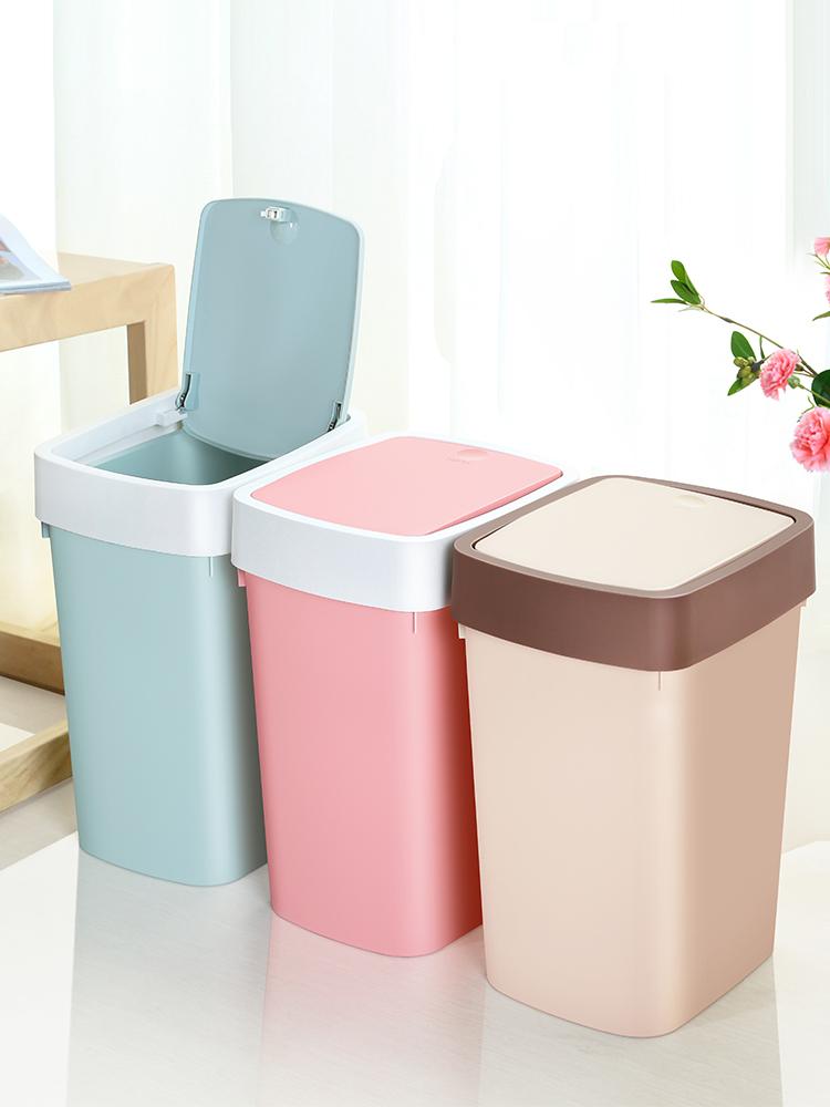 佳帮手垃圾桶家用客厅卧室大号卫生间小桌面创意厨房带盖非脚踏桶