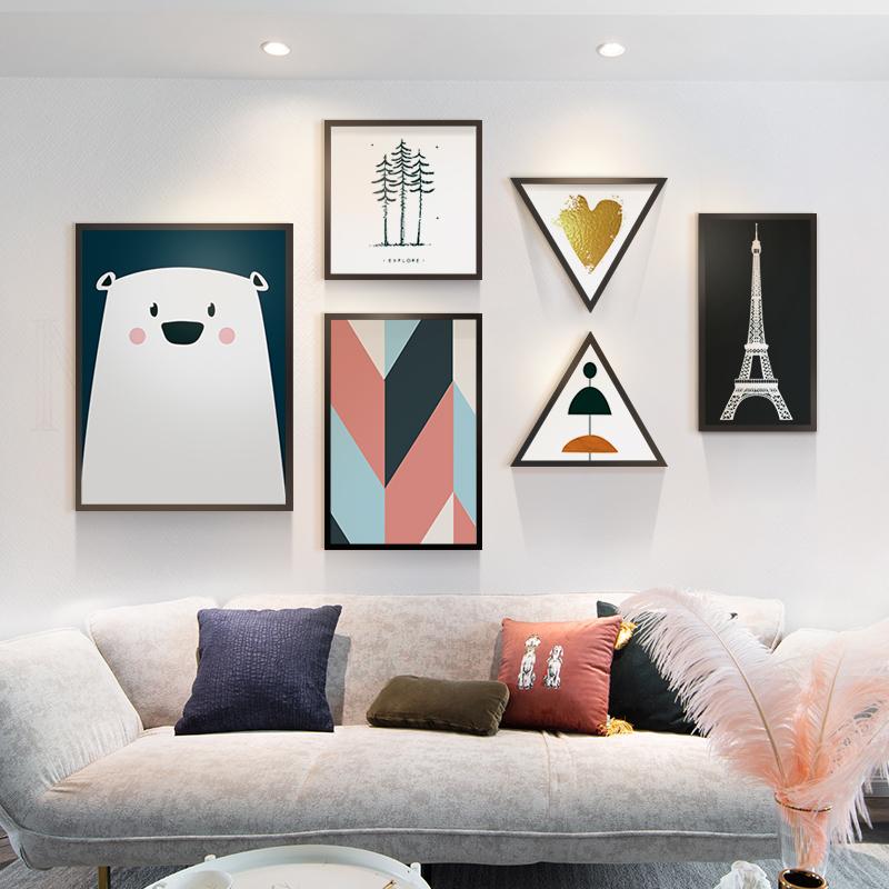 北欧风格客厅沙发背景装饰画卧室壁画小清新组合挂画玄关餐厅墙画