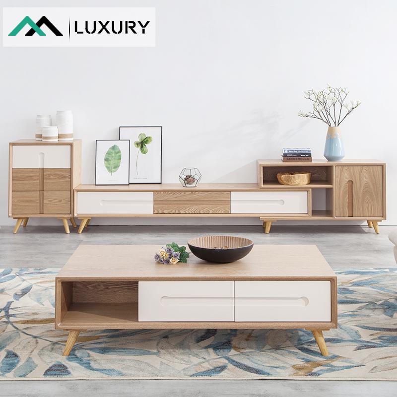 北歐茶几電視櫃組合套裝簡約現代原木色可伸縮小戶型客廳牆櫃實木