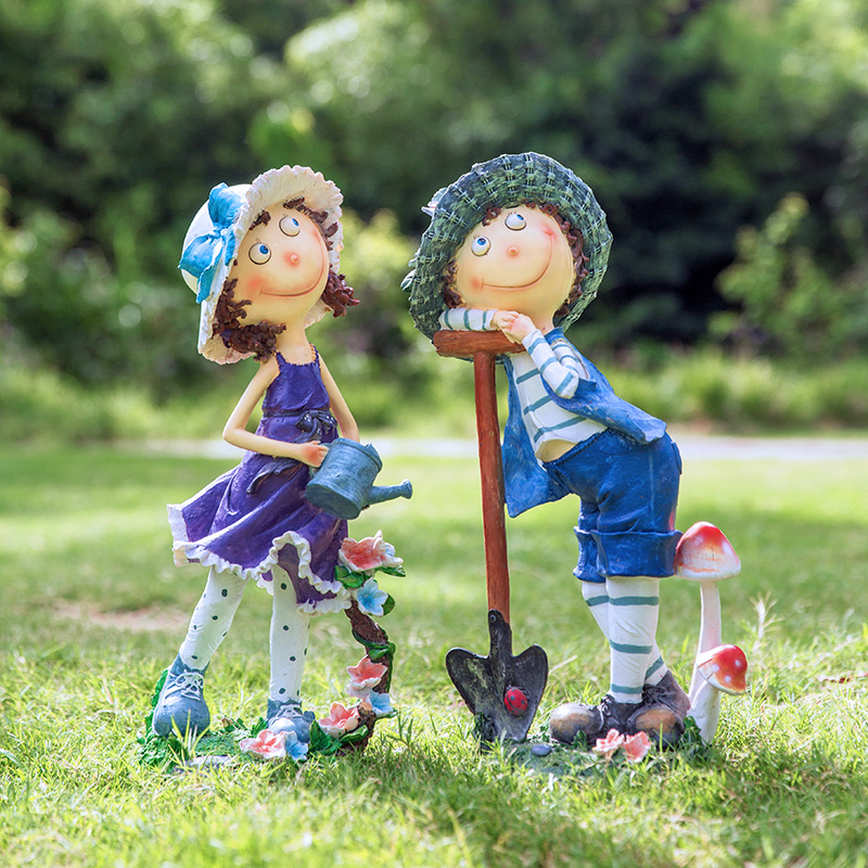 花園裝飾 庭院 戶外別墅院子擺件園藝裝飾品創意卡通人物雕塑擺件
