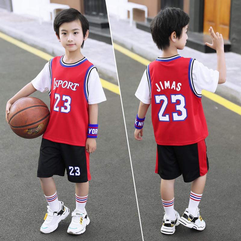 儿童运动套装男童夏装中大童洋气速干衣6男孩短袖球服9薄款假两件