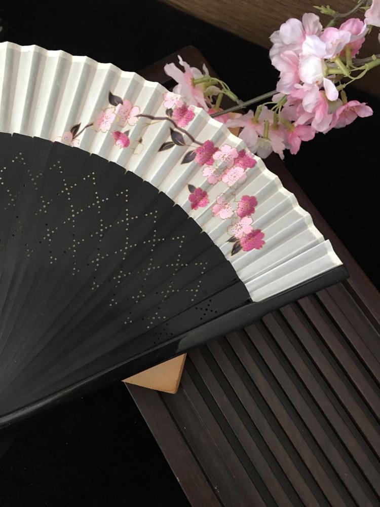 寸女扇 6 江户日式日本和风折扇子和服扇烫金窗格蝴蝶樱花烤漆娟扇
