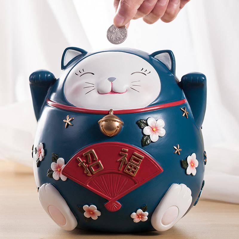 大号存钱罐招财猫摆件硬钱零钱罐大人儿童卡通储蓄罐创意生日礼物