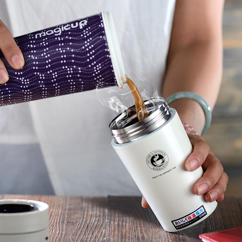 邦达保温杯女男便携水杯不锈钢学生韩版清新文艺简约咖啡杯随手杯