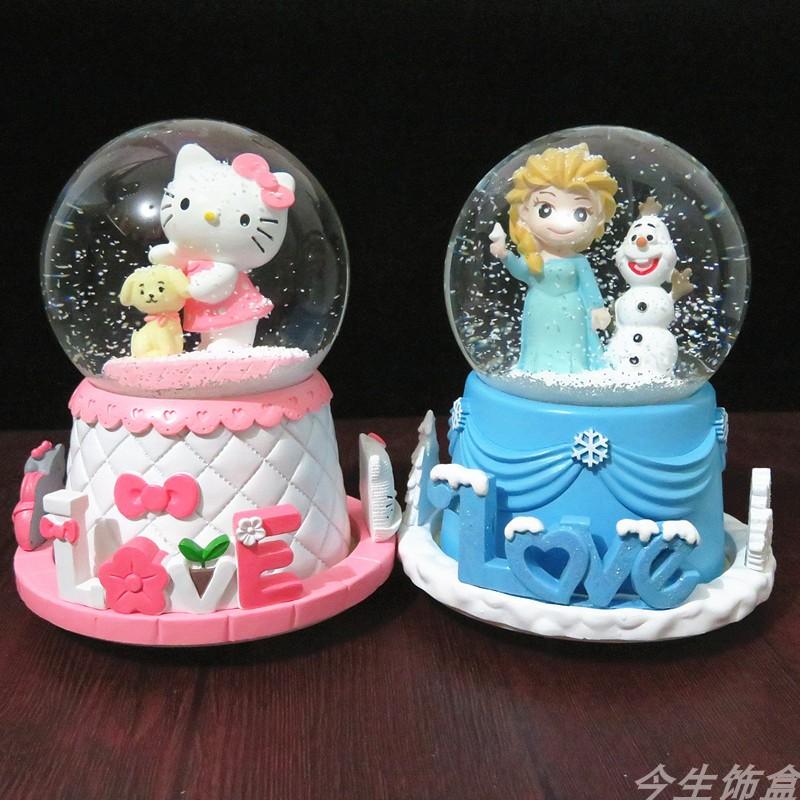 美人鱼旋转飘雪水晶球音乐盒八音盒礼品摆件女友公主女孩生日礼物