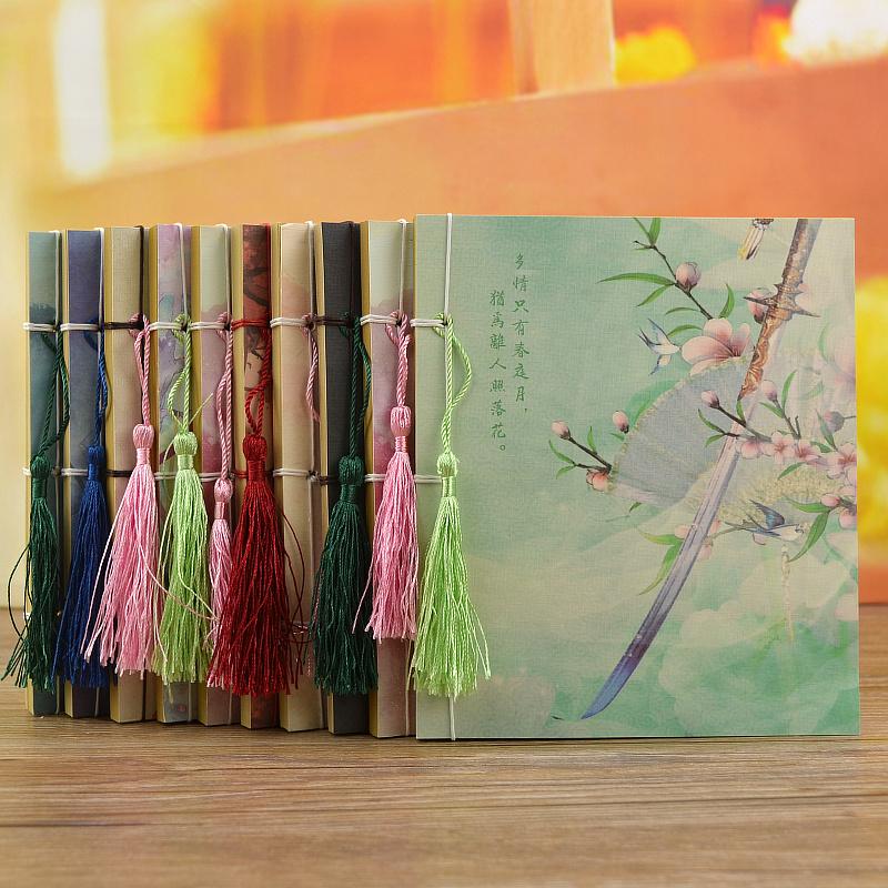 中国风流苏牛皮纸空白手绘本子复古古风笔记本文具彩页缝线日记本