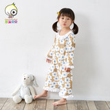 Siamese female baby cotton long-sleeved nightgown pajamas for children infant Tong Chunqiu winter pajamas thin models kick home service