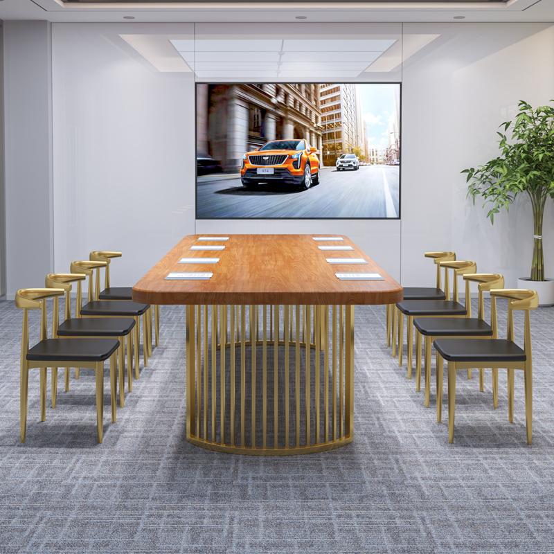 工业风椭圆形洽谈桌椅组合 loft 大型会议桌实木长桌简约现代办公桌