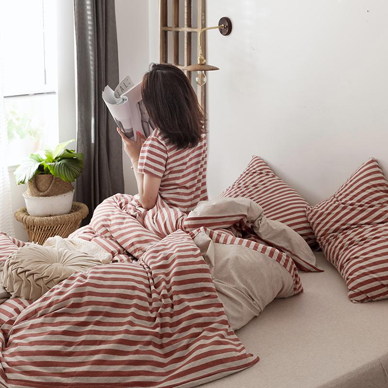 简约条纹针织棉四件套天竺棉全棉裸睡纯棉超柔床单床笠床上用品