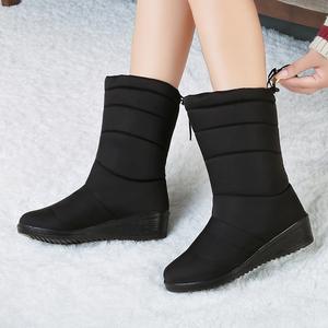 雪地靴女2019新款时尚冬季保暖中筒防滑防水女靴加绒加厚百搭棉靴
