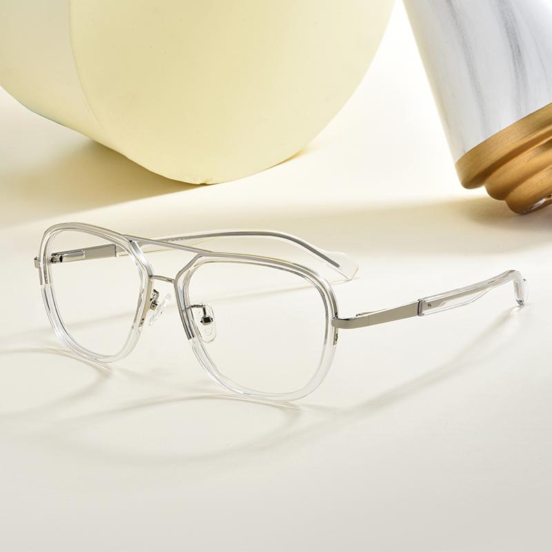 网红款透明双梁眼镜框男复古超大框平光护眼防蓝光近视眼睛有度数