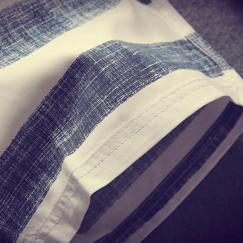 夏季男士条纹短裤休闲裤韩版五分裤修身薄款沙滩裤潮流男装中裤子
