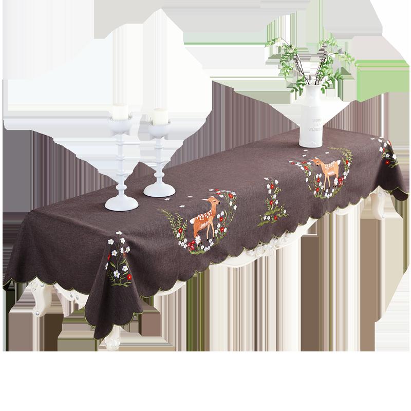 电视柜盖布欧式布艺长方形鞋柜茶几桌布床头刺绣盖巾多用钢琴巾