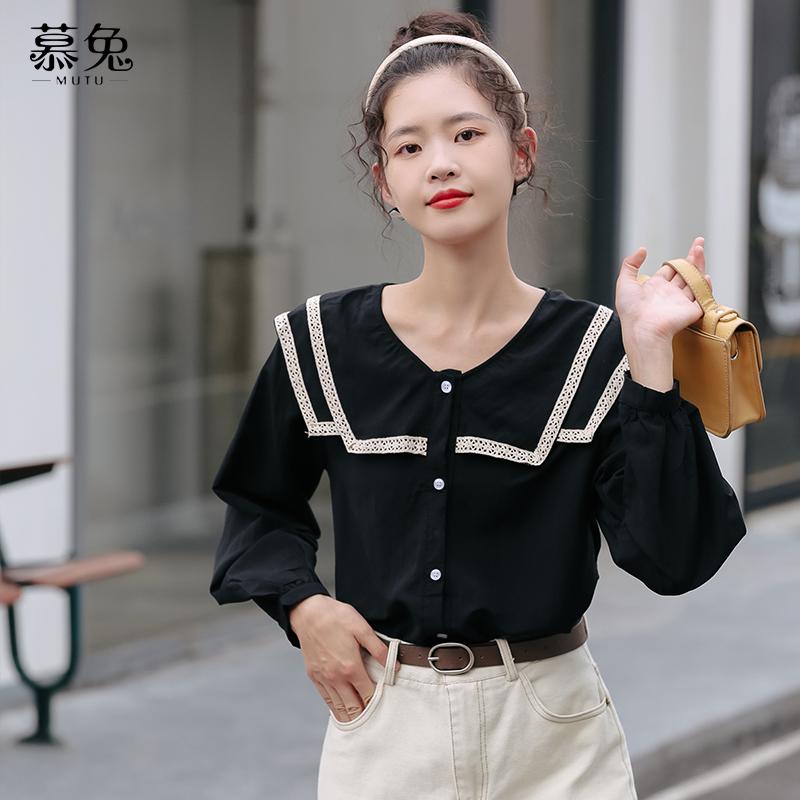 超仙甜美娃娃领衬衫女秋季2021新款韩风chic设计感小众泡泡袖上衣