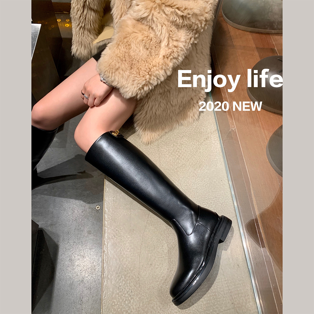 后拉链高筒靴女不过膝厚底粗跟显腿直长筒骑士靴 studiolee 葡萄妈