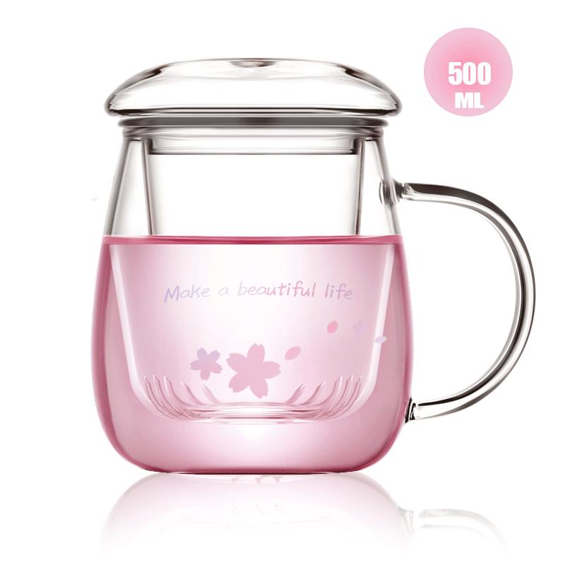 玻璃杯泡花茶杯子带把男女水杯茶水分离带盖过滤办公室家用泡茶杯