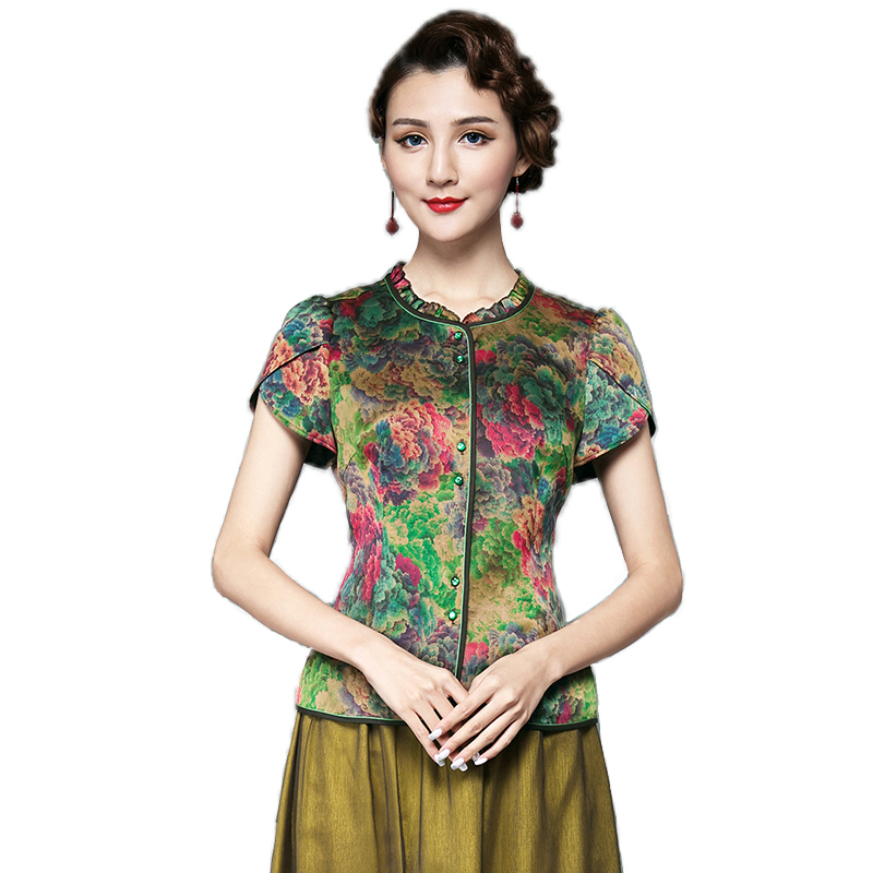 香云莎 民族风妈妈装夏装新款女装真丝香云纱中式上衣桑蚕丝