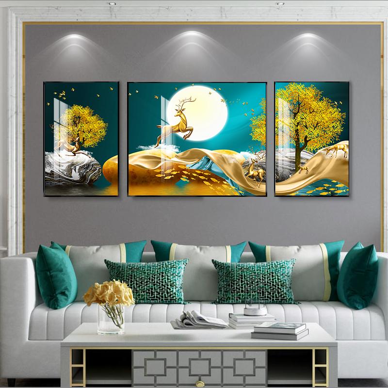 北欧风格装饰画客厅福禄鹿现代三联壁画沙发背景墙轻奢大气挂画