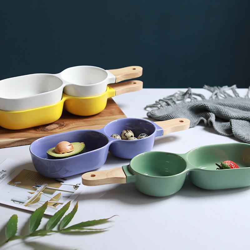 景德镇日式四色陶瓷二连早餐碗小吃碗沙拉碗点心沙拉水果碗酱醋碗