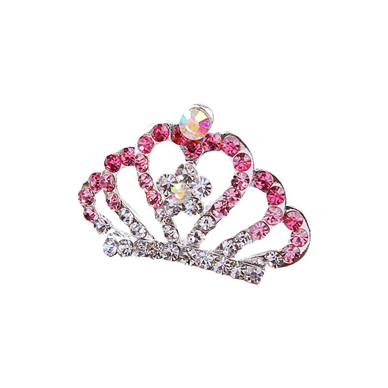 公主小皇冠头饰儿童女童宝宝王冠小孩发饰发梳插梳水钻饰品发卡女