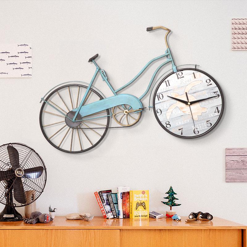 地中海挂钟自行车钟表欧式时钟创意静音钟客厅北欧个性时尚装饰品