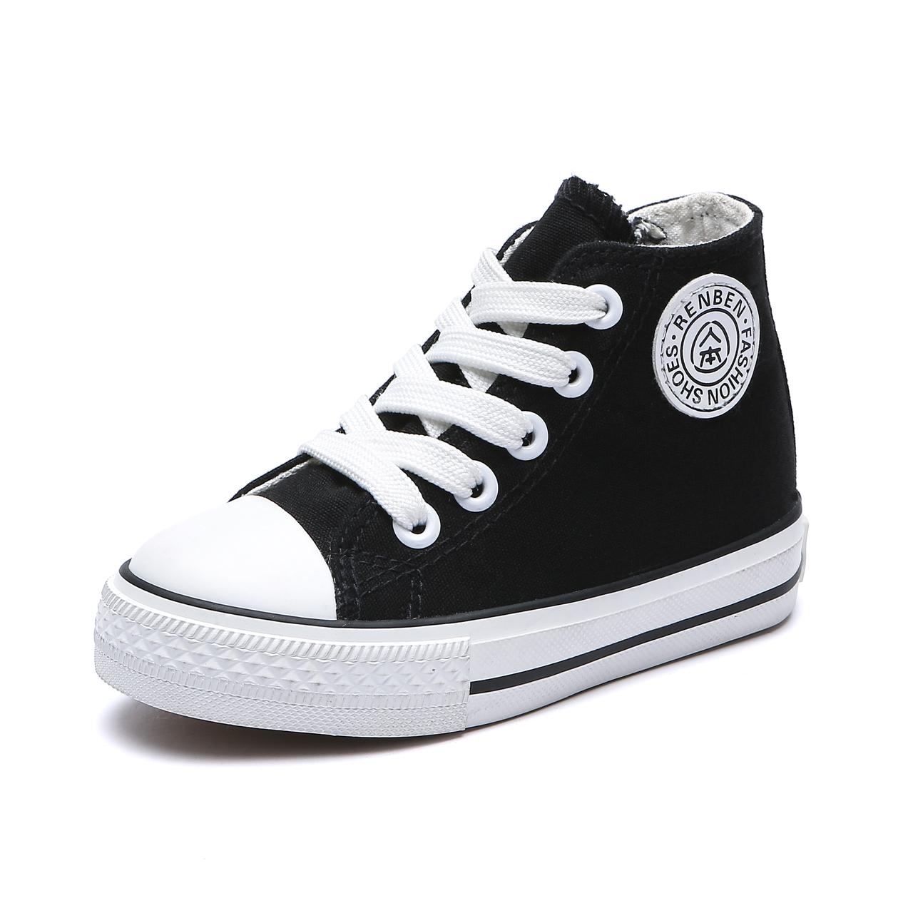 人本帆布鞋女童高帮布鞋儿童鞋子小童休闲童鞋男童小白鞋宝宝板鞋