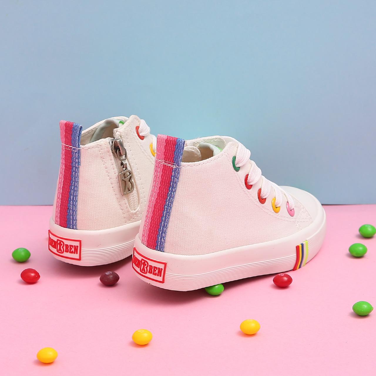 人本帆布鞋儿童高帮布鞋女童小白鞋男童鞋子秋季新款童鞋百搭板鞋
