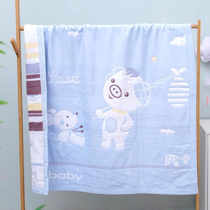 纯棉婴儿浴巾薄款新生儿的纱布盖毯宝宝被子吸水儿童洗澡