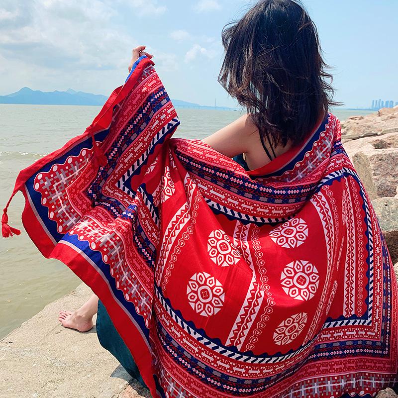 新款围巾女春夏季披肩百搭韩版防晒纱巾海边度假丝巾多功能沙滩巾
