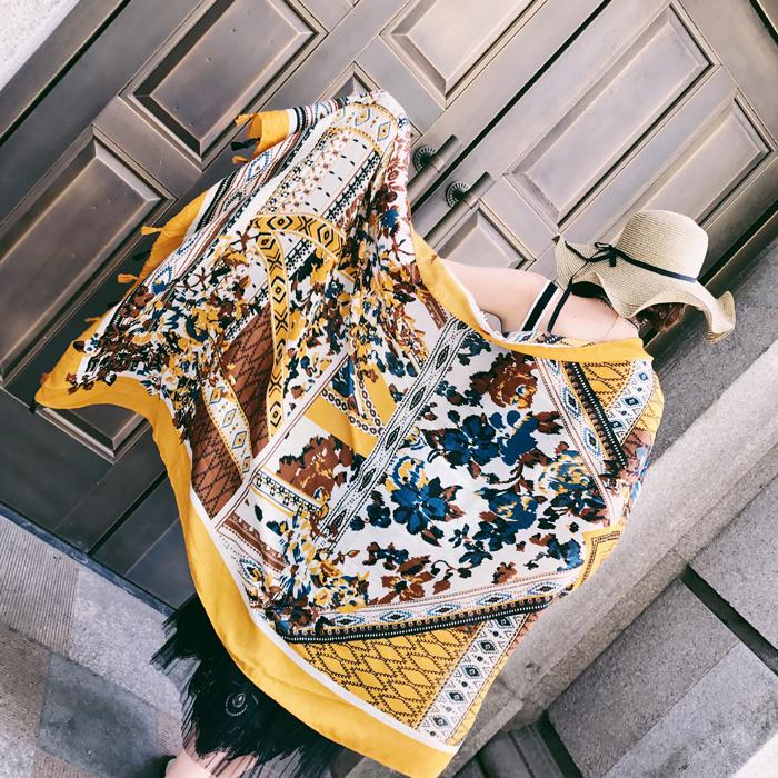 春秋夏季女文艺复古民族风棉麻披肩超大防晒旅游拍照围巾流苏丝巾