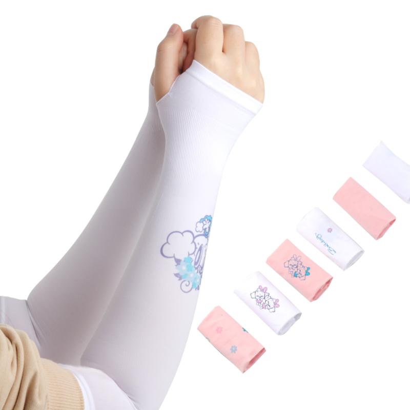 巴布豆儿童冰袖夏季薄款冰丝手套女童男童公主防晒伤手臂宝宝袖套