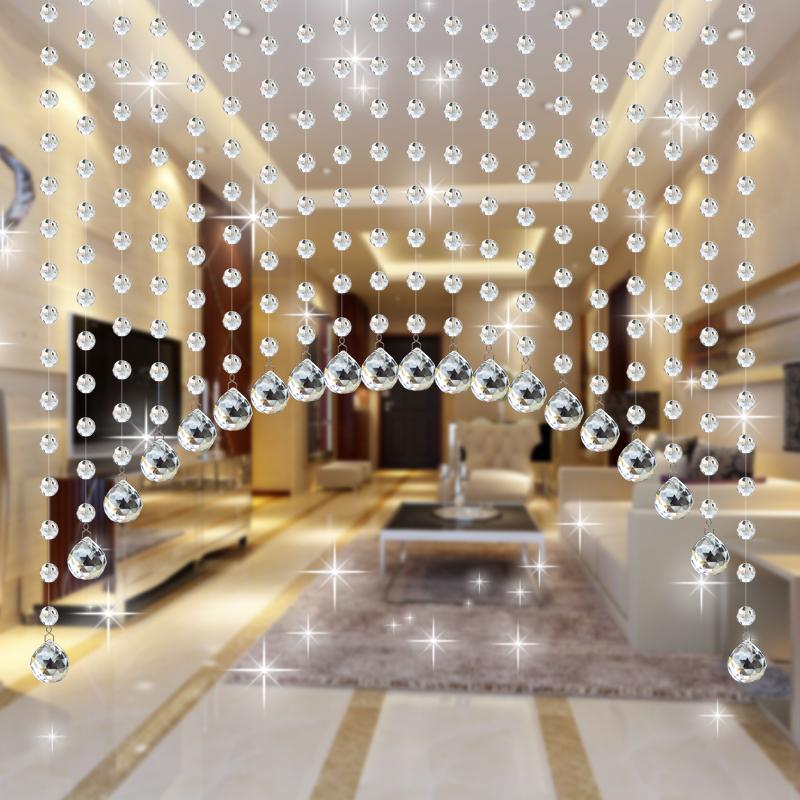 珠帘透明色水晶帘子弧形玄关隔断帘客厅屏风软隔断成品吊挂帘包邮