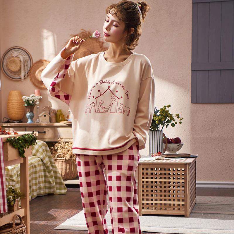 睡衣女士春秋款纯棉长袖韩版休闲夏季家居服两件套装全棉春季秋天