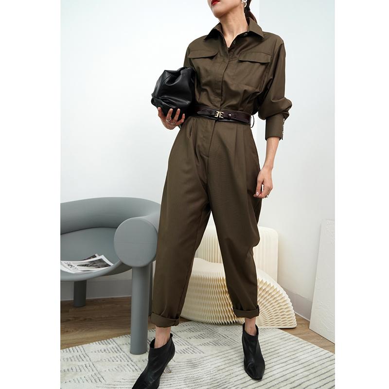 2021春款女装高腰哈伦套装军绿气质工装连体裤女小个子连衣裤显瘦