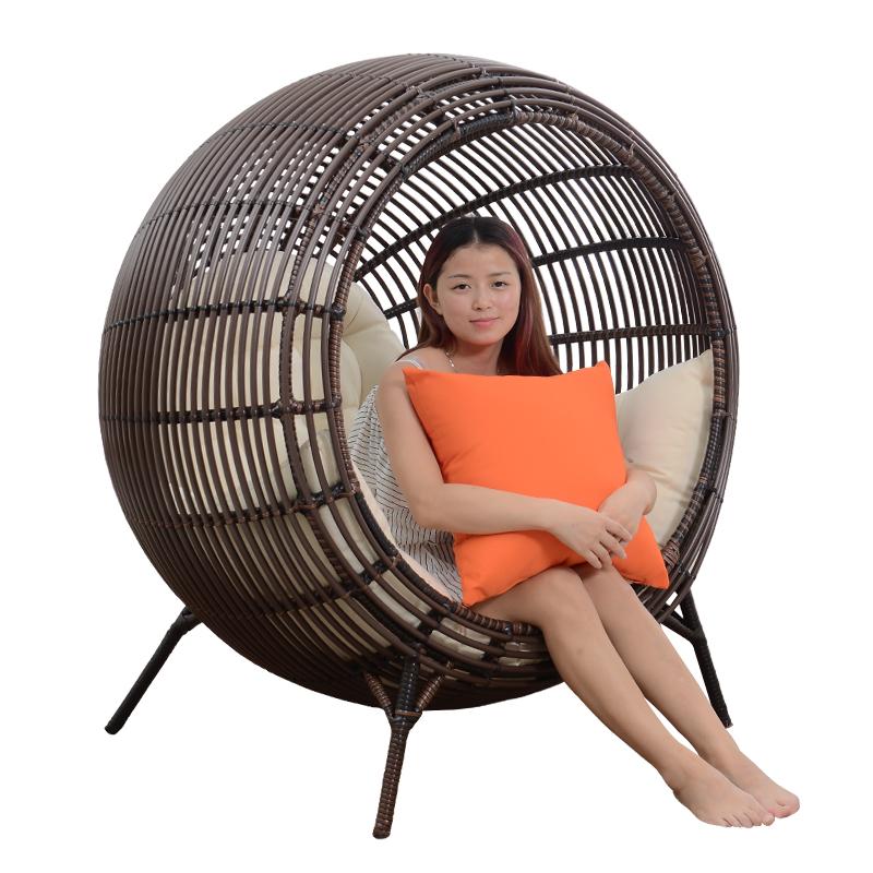 精欧户外 阳台懒人躺椅家用藤吊椅 室内成人鸟巢吊兰椅秋千摇摇椅