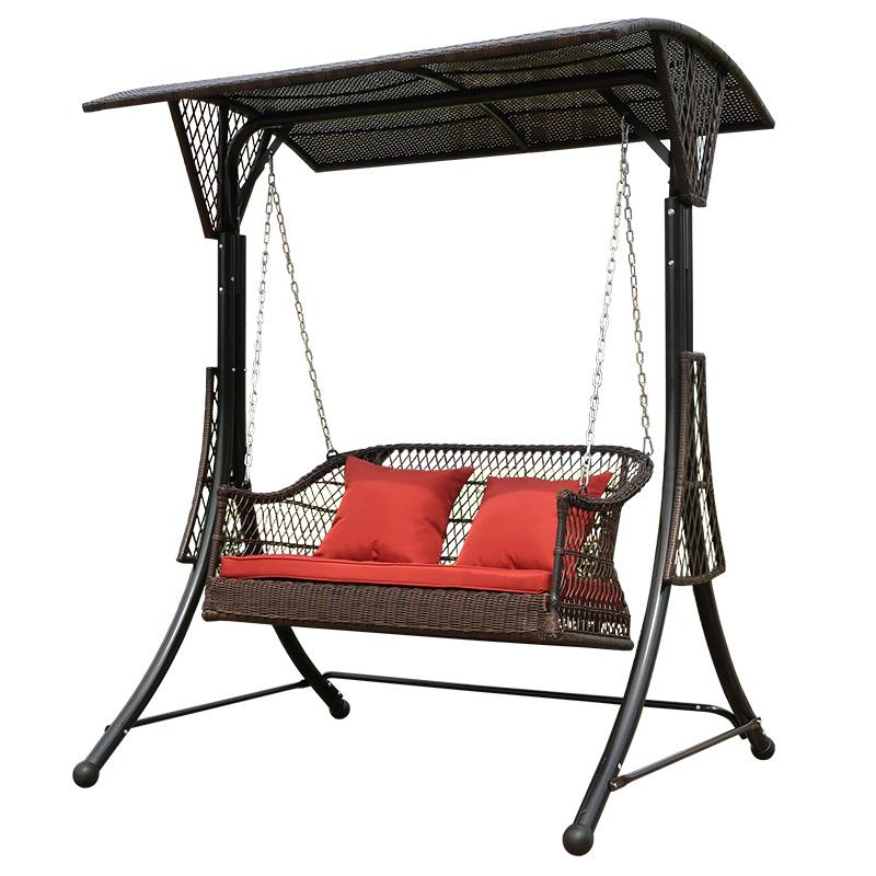 精欧户外 庭院花园加固成人编藤摇篮椅 室外阳台休闲双人秋千吊椅