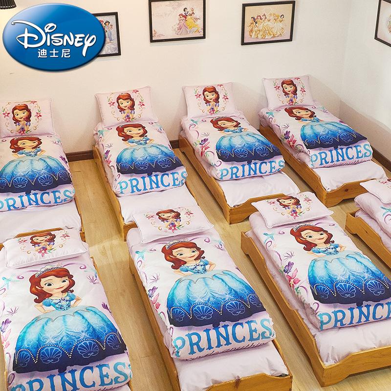 迪士尼幼儿园被子三件套纯棉被套午睡被褥儿童六件套宝宝入园床品