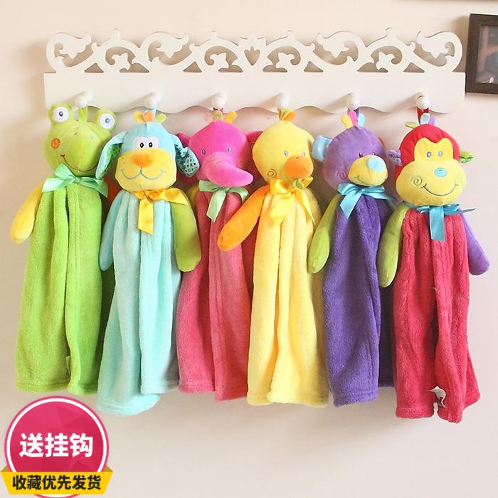 康樂屋可愛韓版卡通動物珊瑚絨6兄弟廚房掛式毛巾擦手巾柔軟吸水
