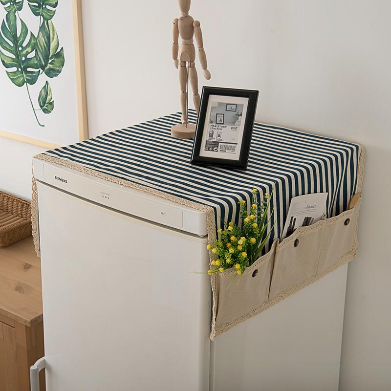 包郵條紋布藝多用蓋巾冰箱罩/冰箱防塵罩/冰箱蓋巾/冰箱巾收納袋