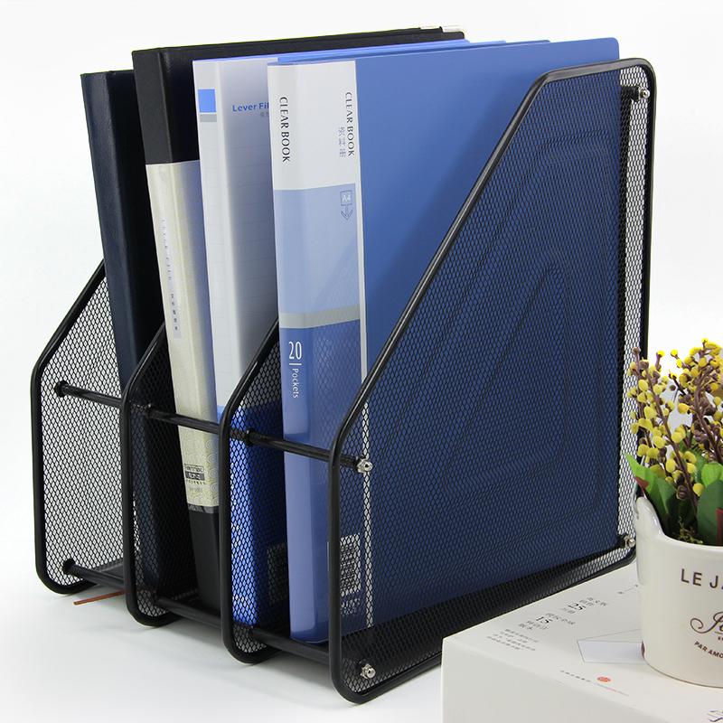 文件架办公用品多层铁网收纳筐抽拉式金属桌面四层A4文件盘办公室书架档案框整理架网状文具