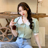 YL French Puff gentle wind doll collar shirt summer new loose purple chiffon shirt blouses