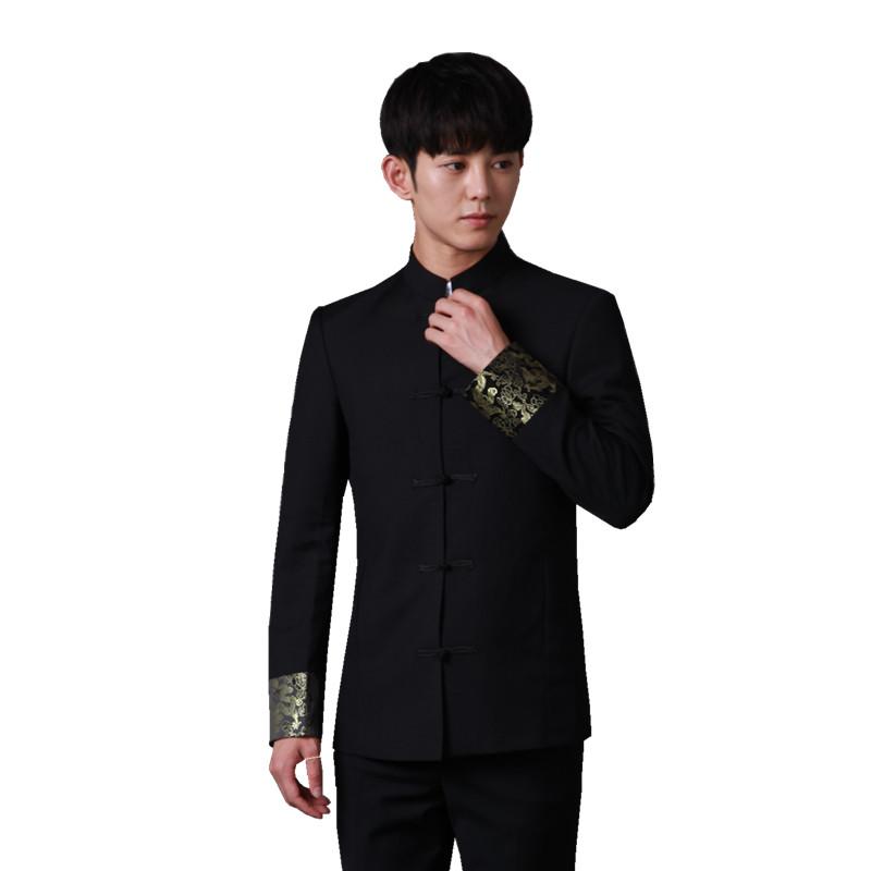 中山装男青年套装修身中国风立领唐装学生毕业演出服潮流结婚礼服