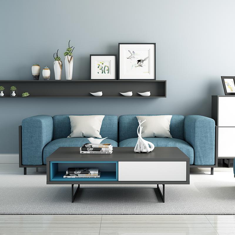 光一北欧茶几电视柜组合套装简约现代茶桌客厅小户型方形茶水桌子