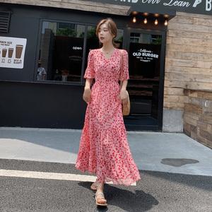 连衣裙2019新款夏碎花雪纺森系长裙仙女超仙甜美收腰显瘦气质裙子