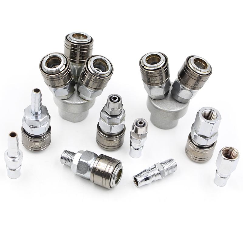 A式气动自锁快速全钢接头宝塔PU气管8/10/12mm内牙外螺纹2/3/4分