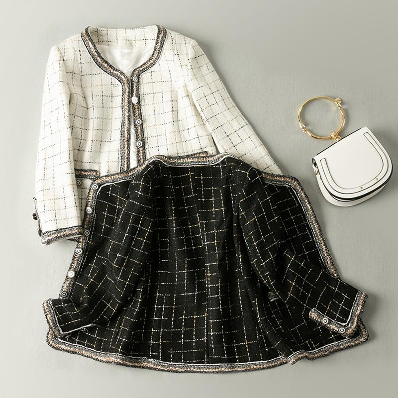 洋气小香风套装女秋冬新款粗花呢外套显瘦半身裙时尚名媛两件套